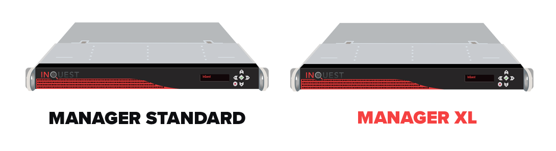 Image of Inquest hardware products, including both standard and XL managers